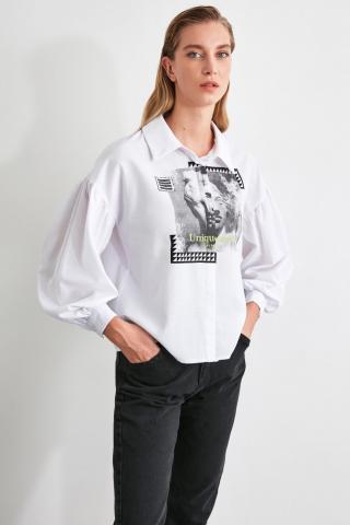 Trendyol White Printed Shirt dámské 34
