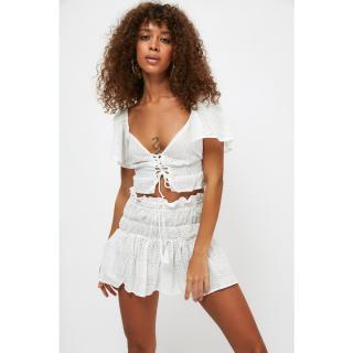 Trendyol White Stripe Detailed Scalloped Embroidered Skirt dámské 34