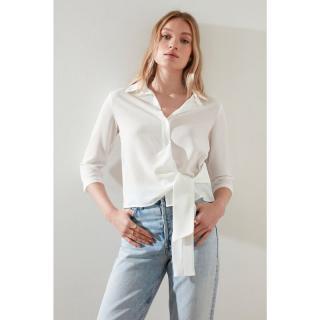 Trendyol White Tie Detail Shirt dámské 34
