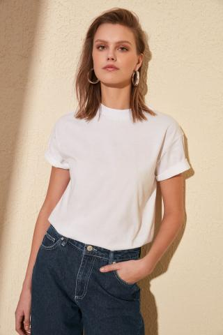 Trendyol White Upright Collar Basic Knitted T-shirt dámské L