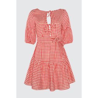 Trendyol Woven Beach Dress with Red Pötikare Binding Detail dámské 34