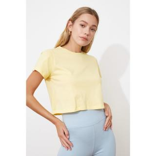Trendyol Yellow 100% Cotton Süprem Bicycle Collar Crop Knitted T-Shirt dámské S