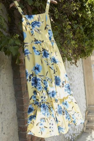 Trendyol Yellow Floral Patterned Dress dámské 34