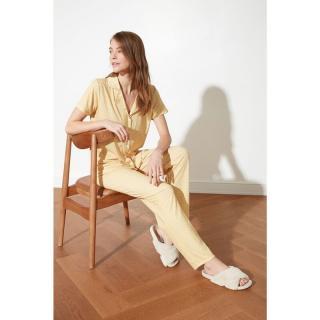 Trendyol Yellow Floral Patterned Knitted Pyjama Set dámské S