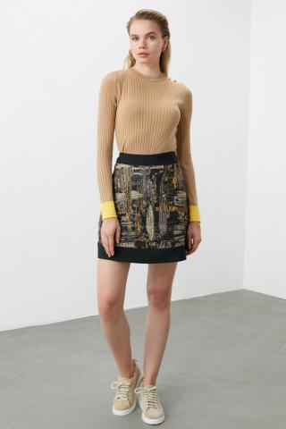 Trendyol Yellow Jacquard Skirt dámské 34