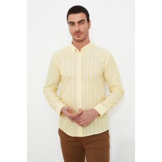Trendyol Yellow Male Slim Fit Long Sleeve Epaulette Buttoned Collar Shirt S