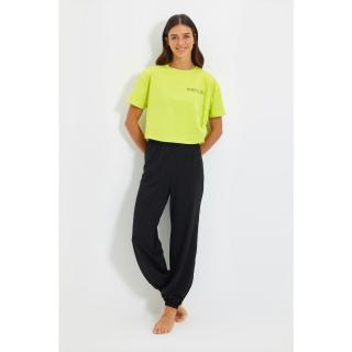 Trendyol Yellow Printed Knitted Pajamas Set dámské Other L