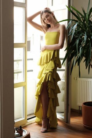 Trendyol Yellow Volan Abiye & Graduation Dress dámské 34
