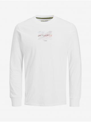 Tričká s dlhým rukávom pre mužov Jack & Jones - biela pánské S