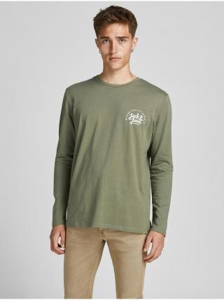Tričká s dlhým rukávom pre mužov Jack & Jones - zelená pánské S