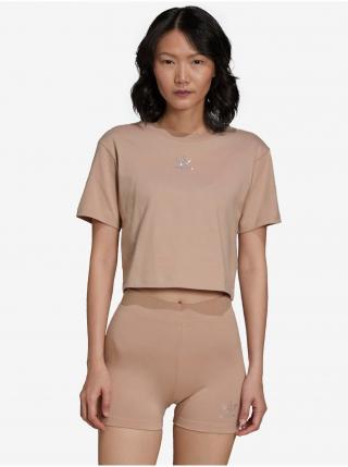 Tričká s krátkym rukávom pre ženy adidas Originals - hnedá, béžová dámské XS