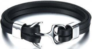 Troli Čierny kožený náramok s oceľovou kotvou Leather