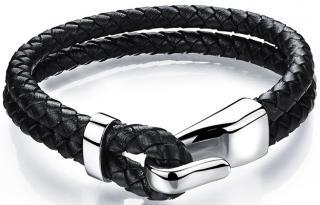 Troli Čierny kožený náramok s oceľovým hákom Leather