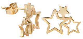 Troli Pozlátené oceľové náušnice s tromi hviezdičkami dámské
