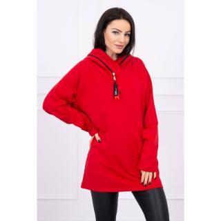 Tunic with a zipper on the hood Oversize red dámské Neurčeno One size