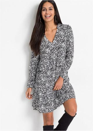 Tunikové šaty s potlačou dámské čierna 42,36,38,40,44,46,48,50,52