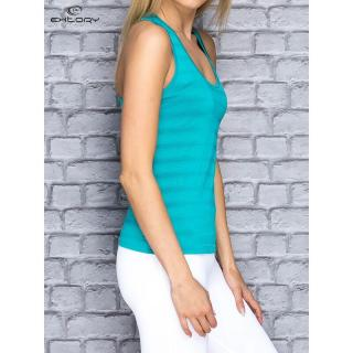 Turquoise women´s striped sports top dámské Neurčeno XS