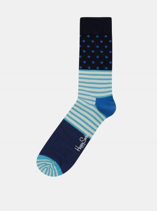 Tyrkysovo-modré dámske vzorované ponožky Happy Socks Stripe Dot pánské modrá 36-40