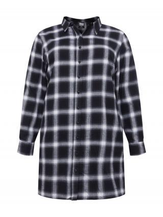 Urban Classics Curvy Košeľové šaty  čierna / biela dámské 46