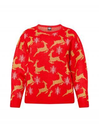 Urban Classics Curvy Oversize sveter Christmas  červená / zlatá / biela dámské XXL
