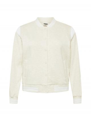 Urban Classics Curvy Prechodná bunda Ladies Inset College Sweat Jacket  biela / svetlosivá dámské XXXL