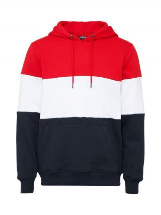 Urban Classics Mikina  námornícka modrá / ohnivo červená / biela pánské S
