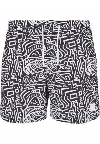 Urban Classics Plavecké šortky  biela / čierna pánské S