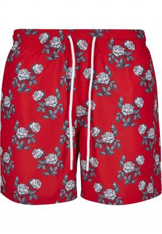 Urban Classics Plavecké šortky  červená / biela / sivá / svetlosivá pánské L