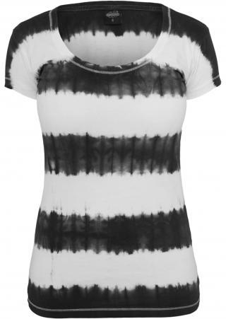 Urban Classics Tričko Dip Dye Stripe Tee  čierna / biela dámské M