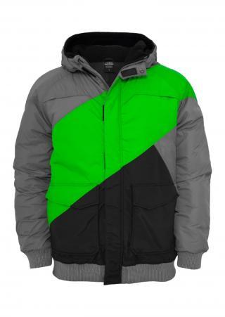 Urban Classics Zimná bunda  limetová / dymovo šedá / sivá melírovaná pánské L