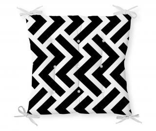 Vankúš na sedenie Minimalist Cushion Covers Black White Geometric Zig zag 40x40 cm Čierna 40x40 cm