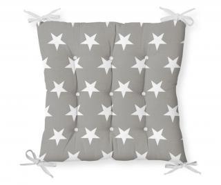 Vankúš na sedenie Minimalist Cushion Covers Gray White Stars 40x40 cm Biela 40x40 cm