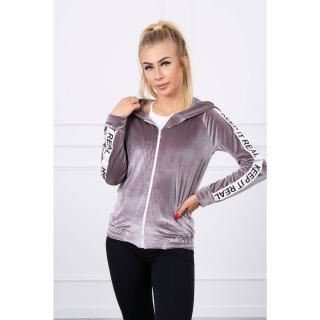 Velor sweatshirt with a hood gray dámské Neurčeno One size