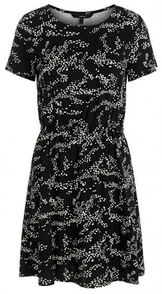 Vero Moda Dámske šaty VMAUTUMN AMAZE S / S SHORT DRESS WVN LCS Black XS dámské
