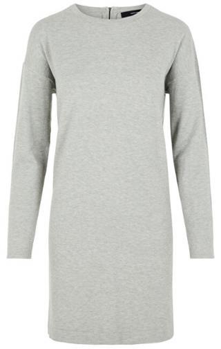 Vero Moda Dámske šaty VMHAPPY BASIC LS ZIPPER DRESS COLOR Light Grey Melange L dámské