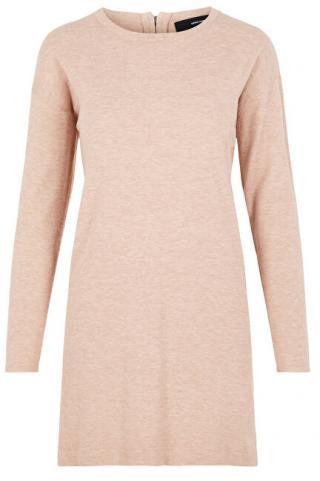 Vero Moda Dámske šaty VMHAPPY BASIC LS ZIPPER DRESS COLOR Misty Rose M dámské