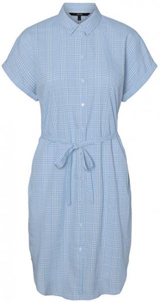 Vero Moda Dámske šaty VMHEAVEN SL ABK SHIRT DRESS WVN Pl acid Blue SNOW WHITE XL dámské