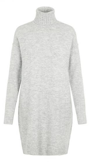 Vero Moda Dámske šaty VMLUCI LS ROLLNECK DRESS Light Grey Melange M dámské