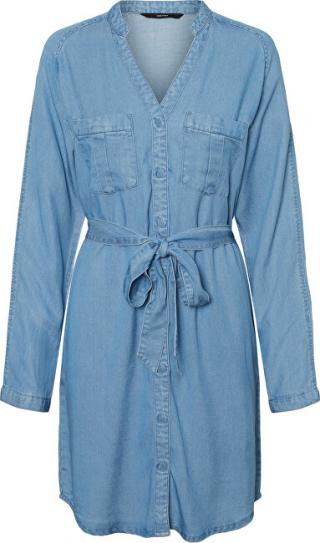 Vero Moda Dámske šaty VMSAFFI LS SHORT DRESS GA Light Blue Denim XL dámské