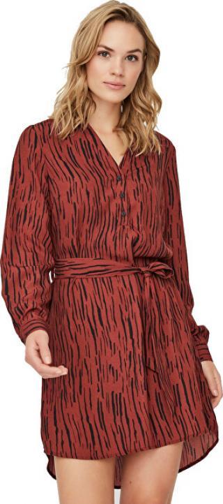 Vero Moda Dámske šaty VMSINE L / S SHORT DRESS WVN BF Madder Brown Iben S dámské