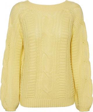 Vero Moda Dámsky sveter VMALLIE LS V-BACK CABLE Blouse BOO Pale Banana L