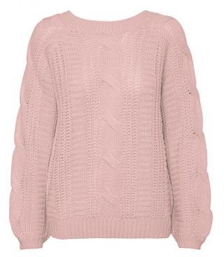 Vero Moda Dámsky sveter VMALLIE LS V-BACK CABLE Blouse BOO Sepia Rose XL