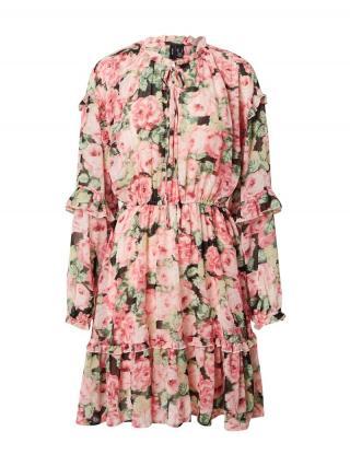 VERO MODA Košeľové šaty Cleo  čierna / ružová / trávovo zelená dámské 34