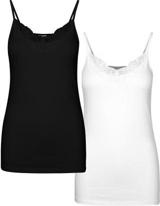 Vero Moda Sada dámskych tielok VMINGE LACE SINGLET GA 2-PACK Noosa Black bright white M dámské