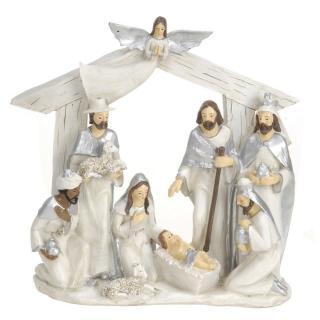 Vianočná dekorácia Betlehem strieborná, 22 x 7 x 22 cm