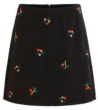 Vila Dámska sukňa VIDAHLA HW NEW EMB DENIM SKIRT / L Black Embroidery S