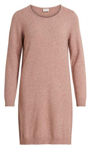 Vila Dámske šaty VIRIL L / S KNIT DRESS - Noosa Ash Rose XL dámské