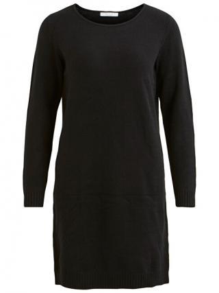 Vila Dámske šaty VIRIL L / S KNIT DRESS - Noosa Black L dámské