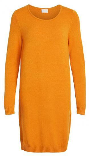 Vila Dámske šaty vírili L / S KNIT DRESS - Noosa Gold en Oak M dámské