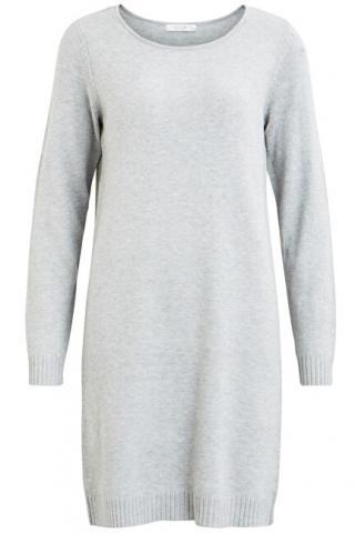 Vila Dámske šaty vírili L / S KNIT DRESS - Noosa Light Grey Melange L dámské